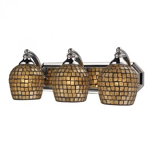 ELK Lighting Three Light Polished Chrome Gold Mosaic Glass Vanity - 570-3C-GLD