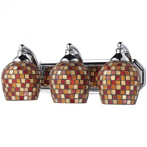 ELK Lighting Three Light Polished Chrome Multi Mosaic Glass Vanity - 570-3C-MLT
