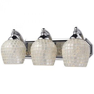 ELK Lighting Three Light Polished Chrome Silver Mosaic Glass Vanity - 570-3C-SLV