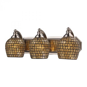 ELK Lighting Three Light Satin Nickel Gold Mosaic Glass Vanity - 570-3N-GLD