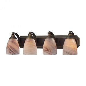 ELK Lighting Four Light Aged Bronze Creme Glass Vanity - 570-4B-CR