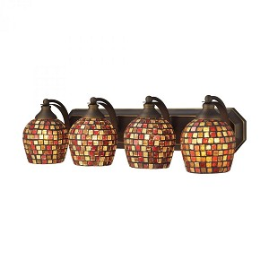ELK Lighting Four Light Aged Bronze Multi Mosaic Glass Vanity - 570-4B-MLT