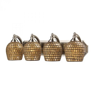 ELK Lighting Four Light Satin Nickel Gold Mosaic Glass Vanity - 570-4N-GLD