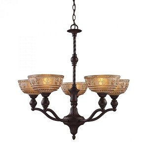 ELK Lighting Five Light Oiled Bronze Up Chandelier - 66197-5