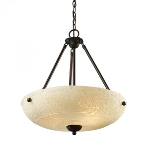 ELK Lighting Three Light Aged Bronze Up Pendant - 66322-4