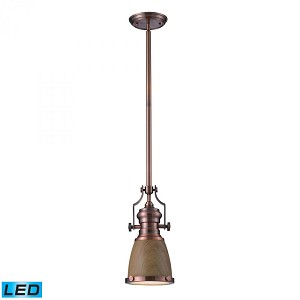 ELK Lighting One Light Antique Copper Medium Oak Shade Down Mini Pendant - 66712-1-LED