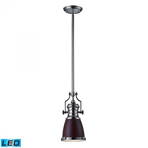 ELK Lighting One Light Polished Nickel Dark Walnut Shade Down Mini Pendant - 66734-1-LED