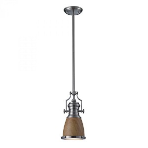ELK Lighting One Light Satin Nickel Medium Oak Shade Down Mini Pendant - 66742-1