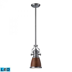 ELK Lighting One Light Satin Nickel Burl Wood Shade Down Mini Pendant - 66743-1-LED