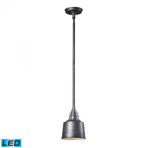 ELK Lighting One Light Weathered Zinc Down Mini Pendant - 66828-1-LED