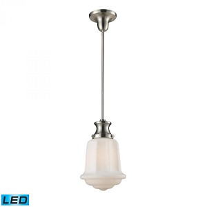 ELK Lighting One Light Satin Nickel School House Mini Pendant - 69043-1-LED