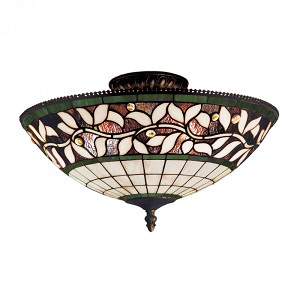 ELK Lighting Three Light Tiffany Bronze Bowl Semi-Flush Mount - 933-TB