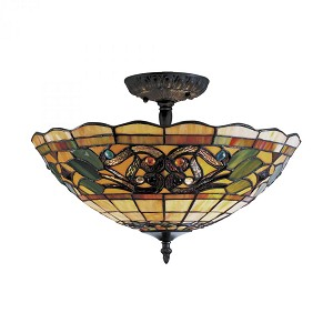 ELK Lighting Three Light Vintage Antique Tiffany Glass Bowl Semi-Flush Mount - 942-VA