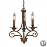 ELK Lighting Three Light Antique Bronze Up Chandelier - 15041/3-LA