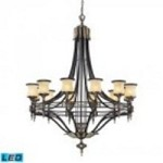 ELK Lighting Twelve Light Antique Bronze & Dark Umber Dark Umber And Marblized Amber Glass Up Chandelier - 2434/12-LED