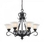 ELK Lighting Six Light Matte Black Up Chandelier - 256-BK