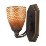 ELK Lighting One Light Aged Bronze Coco Glass Bathroom Sconce - 570-1B-C