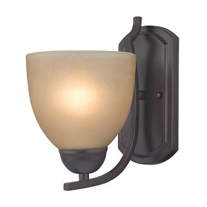 Elk Cornerstone One Light Oil Rubbed Bronze Café Tint Glass Wall Light - 1401WS/10