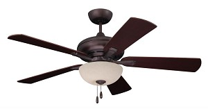 Emerson Fans Three Light Oil Rubbed Bronze Amber Mist Glass Ceiling Fan - CF776ORB