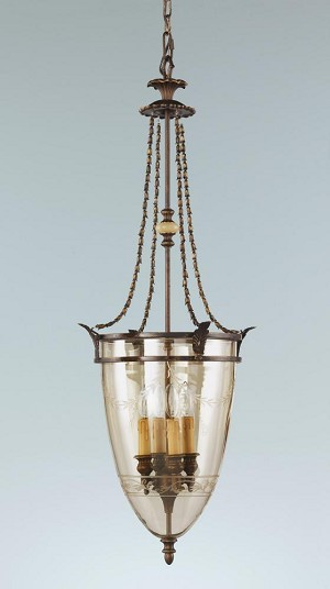 Feiss Four Light Firenze Gold Gold Luster W/etching Glass Foyer Hall Pendant - F2203/4FG