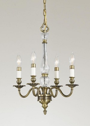 Feiss Four Light Aged Brass Clear Optic Glass Up Chandelier - F2357/4AGB