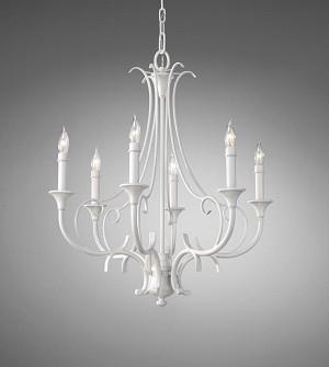 Feiss Six Light Semi Gloss White Up Chandelier - F2533/6SGW
