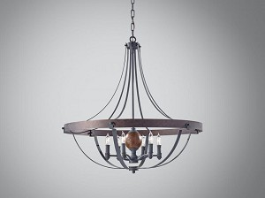 Feiss Six Light Af/charcoal Brick/acorn Up Chandelier - F2796/6AF/CBA