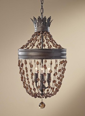 Feiss Three Light Rustic Iron Up Chandelier - F2805/3RI