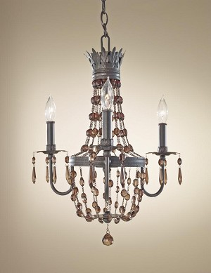 Feiss Three Light Rustic Iron Up Chandelier - F2806/3RI