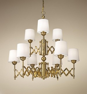Feiss Nine Light Bali Brass Up Chandelier - F2903/6+3BLB