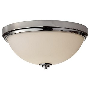 Feiss Two Light Polished Nickel Clear Glass Bowl Flush Mount - FM372PN