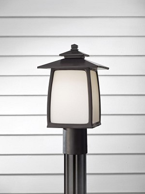Feiss One Light Oil Rubbed Bronze White Opal Etched Glass Post Light - OL8507ORB