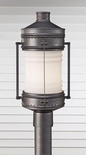 Feiss One Light White Opal Etched Glass Oil Can Post Light - OL9107OLC