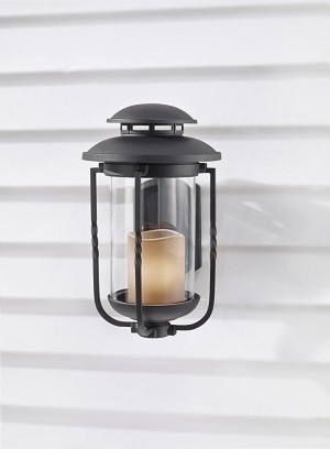 Feiss One Light Textured Black Champagne Scavo Glass Wall Lantern - OL9201TXB