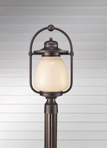Feiss One Light Grecian Bronze Cream Gloss Glass Post Light - OL9308GBZ
