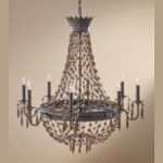 Feiss Eight Light Rustic Iron Up Chandelier - F2803/8RI