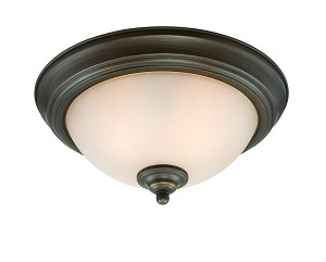 Jeremiah Two Light Loft Bronze Painted Glass Bowl Flush Mount - 20013-LB