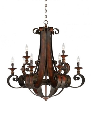 Jeremiah Nine Light Spanish Bronze Up Chandelier - 28029-SPZ