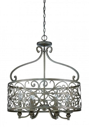 Jeremiah Six Light Athenian Obol Foyer Hall Pendant - 35836-AO