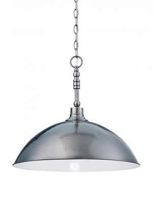 Jeremiah One Light Antique Nickel Hammered Metal Shade Down Pendant - 35993-AN