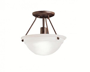 Kichler One Light Tannery Bronze Bowl Semi-Flush Mount - 3121TZ