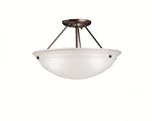 Kichler Three Light Tannery Bronze Bowl Semi-Flush Mount - 3122TZ
