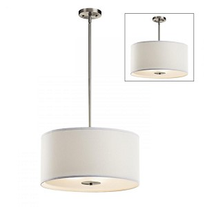 Kichler Three Light Brushed Nickel Drum Shade Pendant - 42121NI