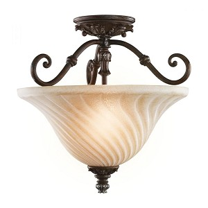 Kichler Two Light Legacy Bronze Bowl Semi-Flush Mount - 42514LZ
