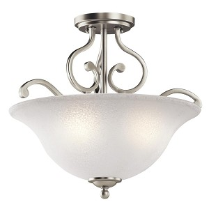 Kichler Three Light Brushed Nickel Bowl Semi-Flush Mount - 43232NI