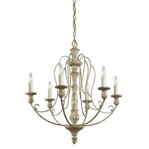 Kichler Six Light Distressed Antique White Up Chandelier - 43257DAW