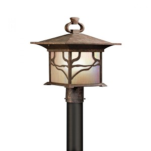 Kichler One Light Distressed Copper Post Light - 9920DCO