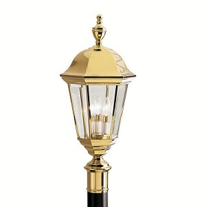 Kichler Three Light Polished Brass Post Light - 9989PB