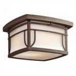 Kichler Two Light Aged Bronze Outdoor Flush Mount - 49153AGZS