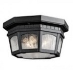 Kichler Three Light Textured Black Outdoor Flush Mount - 9538BKT